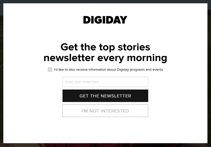 pop-up forms for newsletters